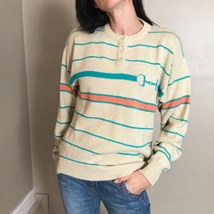 Vintage Equestrian Horse Bit Striped Sweater